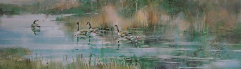 Summer Marsh:Canada Geese by Brent Heighton - offset lithograph reproduction vintage fine art print