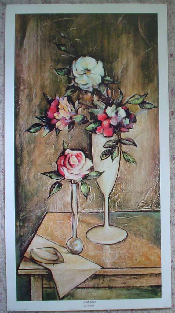 Wild Roses by Robert (R.F.) Harnett, shown with full margins - offset lithograph reproduction vintage fine art print