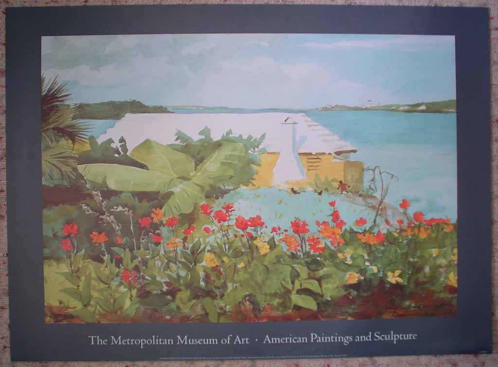 Flower Garden And Bungalow, Bermuda by Winslow Homer, Metropolitan Museum of Art, shown with full margins - offset lithograph reproduction vintage poster art print