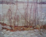 Frozen Lake, Early Spring, Algonquin Park by A.Y. Jackson, Group of Seven - offset lithograph reproduction vintage fine art print
