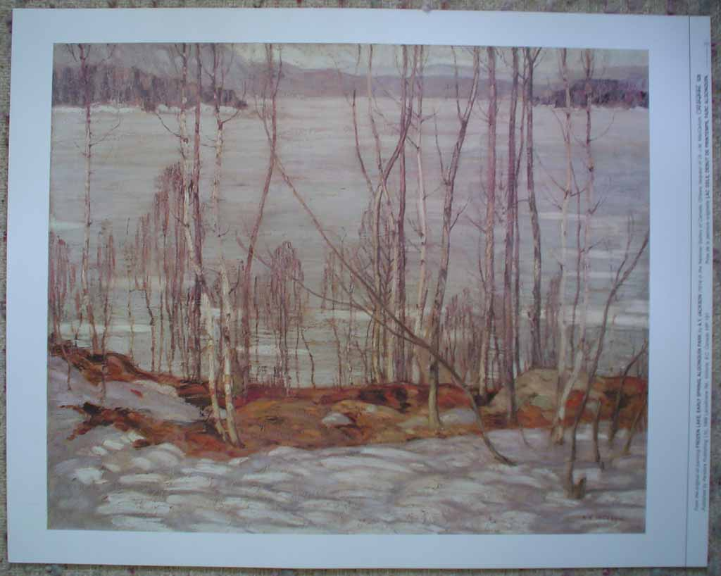 Frozen Lake, Early Spring, Algonquin Park by A.Y. Jackson, Group of Seven, shown with full margins - offset lithograph reproduction vintage fine art print