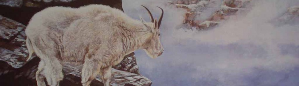 Mountain Goat, Precipice (untitled) by Andrew Kiss - hand-numbered 277/670 and signed by the artist - offset lithograph limited edition vintage fine art print