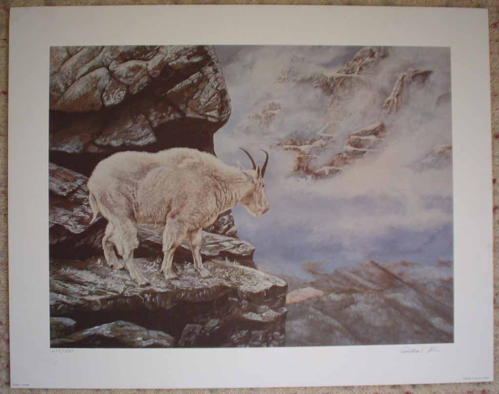 Mountain Goat, Precipice (untitled) by Andrew Kiss, shown with full margins - hand-numbered 277/670 and signed by the artist - offset lithograph limited edition vintage fine art print