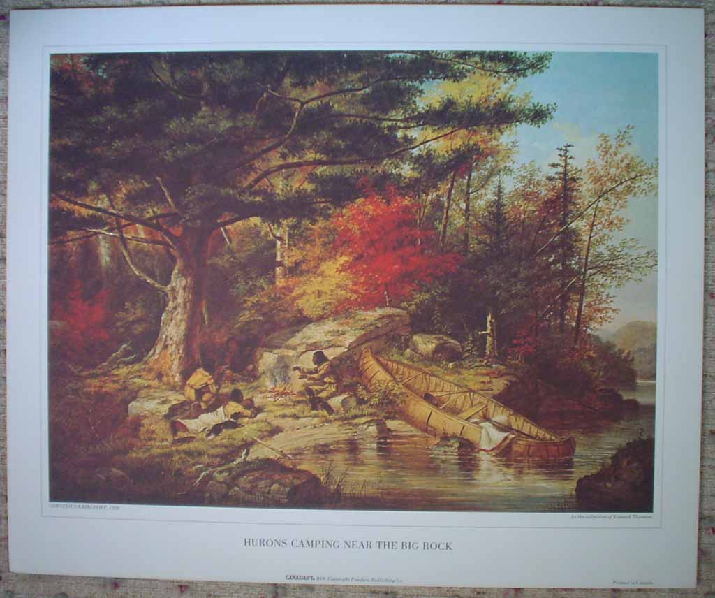 Hurons Camping Near The Big Rock by Cornelius Krieghoff, shown with full margins - offset lithograph reproduction vintage fine art print