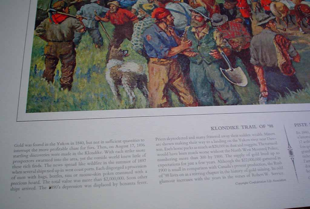 Klondike Trail Of '98 by John David Kelly & T.W. Mitchell, detail to show descriptive historical English text under image - offset lithograph reproduction vintage fine art print