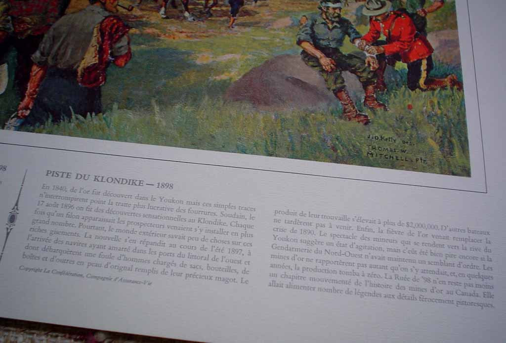 Klondike Trail Of '98 by John David Kelly & T.W. Mitchell, detail to show descriptive historical French text under image - offset lithograph reproduction vintage fine art print