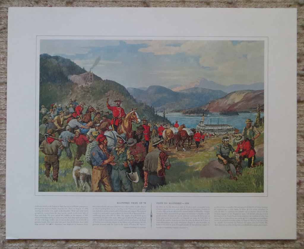 Klondike Trail Of '98 by John David Kelly & T.W. Mitchell, shown with full margins - offset lithograph reproduction vintage fine art print