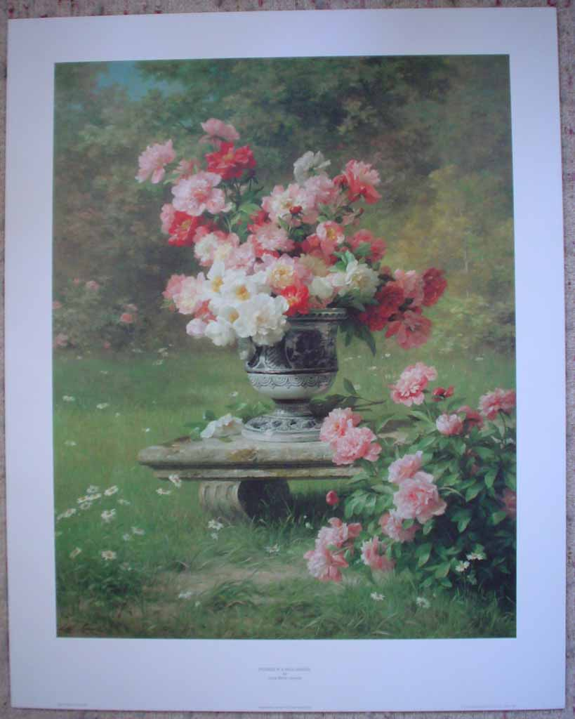Peonies In A Wild Garden by Louis Marie Lemaire, shown with full margins - offset lithograph reproduction vintage fine art print