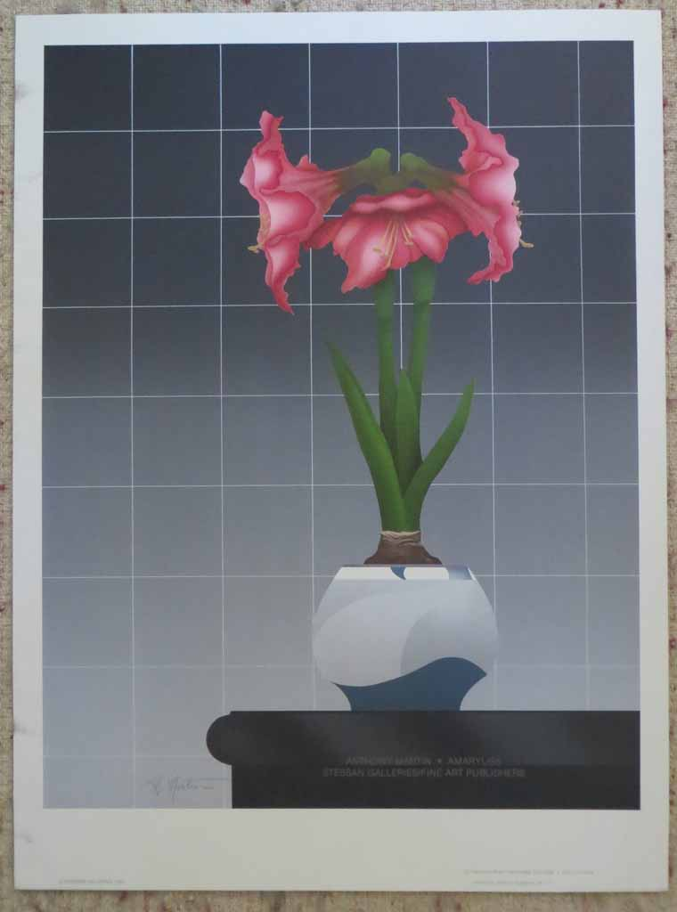 Amaryliss by Anthony Martin, published by Stessan Galleries, shown with full margins - silkscreen original poster vintage fine art poster print
