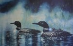 Duck Family Swimming (untitled) by Bruce Muir - hand-numbered AP 8/50 and signed by the artist - limited edition artist's proof offset lithograph vintage fine art print