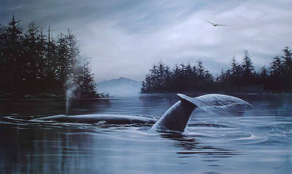 Return Of The Humpback by Bruce Muir - hand-numbered AP 17/48, titled and signed by the artist - limited edition artist's proof offset lithograph vintage fine art print