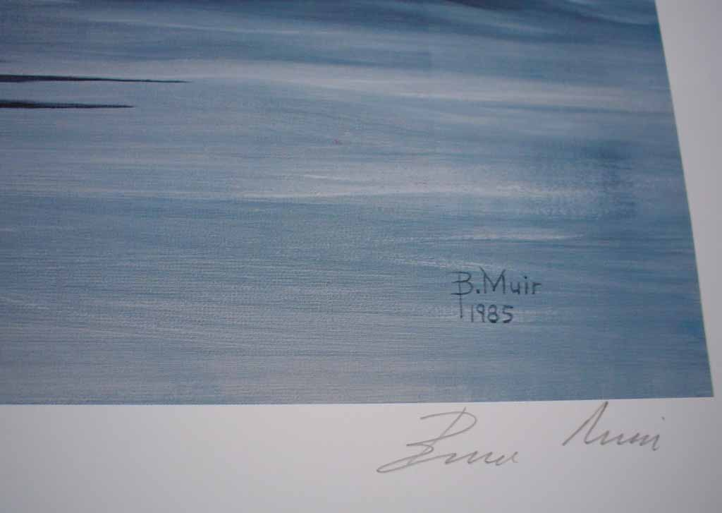 Return Of The Humpback by Bruce Muir, detail to show signature - hand-numbered AP 17/48, titled and signed by the artist - limited edition artist's proof offset lithograph vintage fine art print