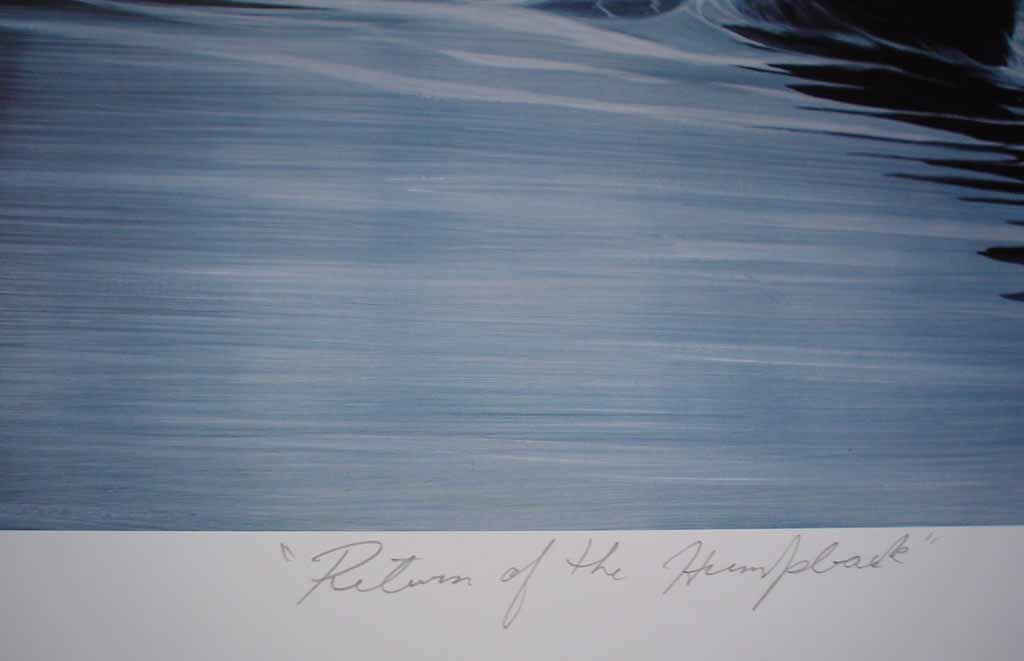 Return Of The Humpback by Bruce Muir, detail to show title - hand-numbered AP 17/48, titled and signed by the artist - limited edition artist's proof offset lithograph vintage fine art print