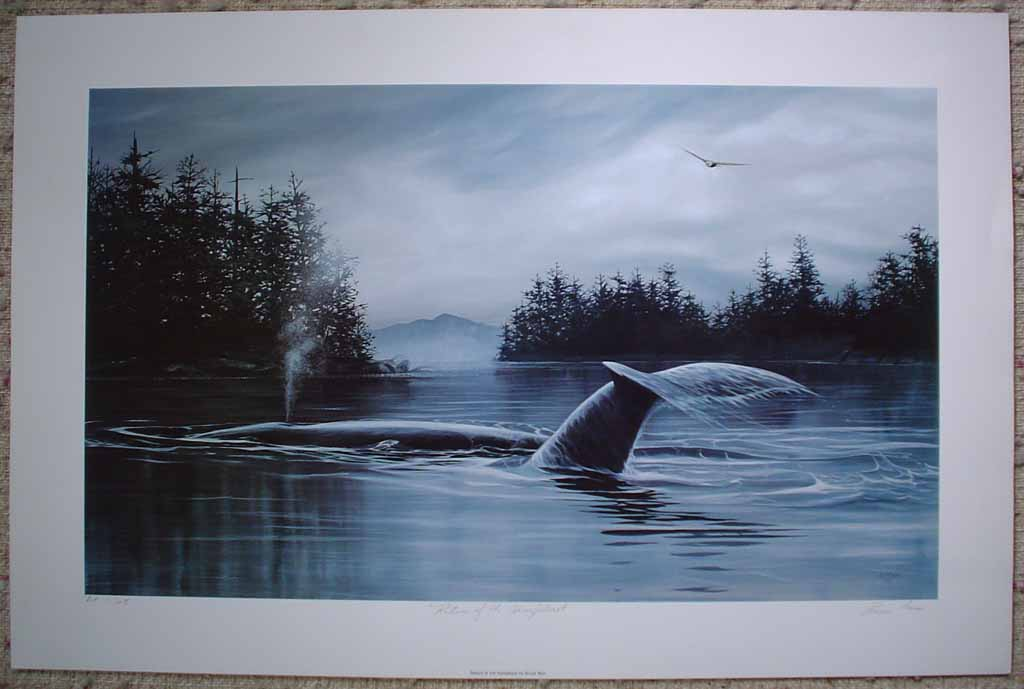 Return Of The Humpback by Bruce Muir, shown with full margins - hand-numbered AP 17/48, titled and signed by the artist - limited edition artist's proof offset lithograph vintage fine art print