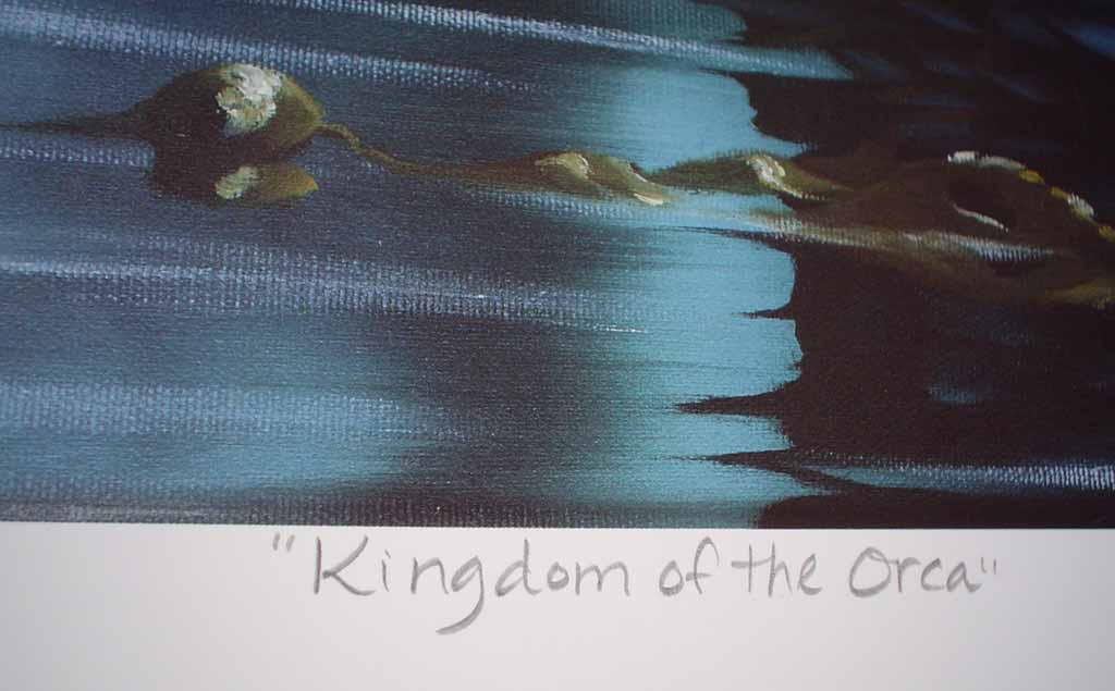 Kingdom Of The Orca by Bruce Muir, detail to show title - hand-numbered AP 37/50, titled and signed by the artist - limited edition artist's proof offset lithograph vintage fine art print