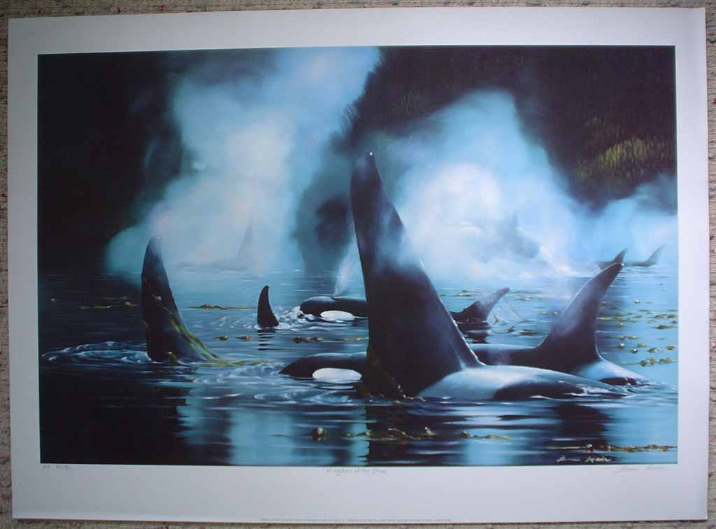 Kingdom Of The Orca by Bruce Muir, shown with full margins - hand-numbered AP 37/50, titled and signed by the artist - limited edition artist's proof offset lithograph vintage fine art print