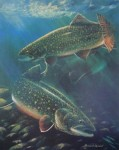 Autumn Splendor: Trout 1994 by Bruce Muir - hand-numbered 62/65 and signed by the artist - limited edition offset lithograph vintage fine art print