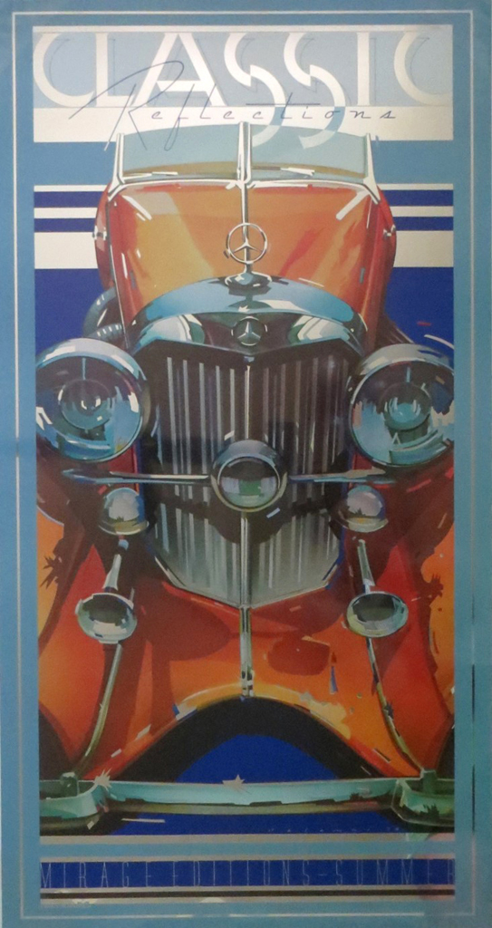 Mercedes-Benz SSK by Peter Palombi, Classic Reflections published by Mirage Editions Summer - lithograph on silver mylar vintage poster print