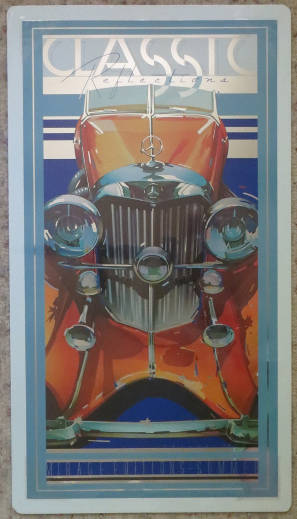 Mercedes-Benz SSK by Peter Palombi, Classic Reflections published by Mirage Editions Summer, shown with full margins, packaged in plastic with rigid cardboard backing - lithograph on silver mylar vintage poster print