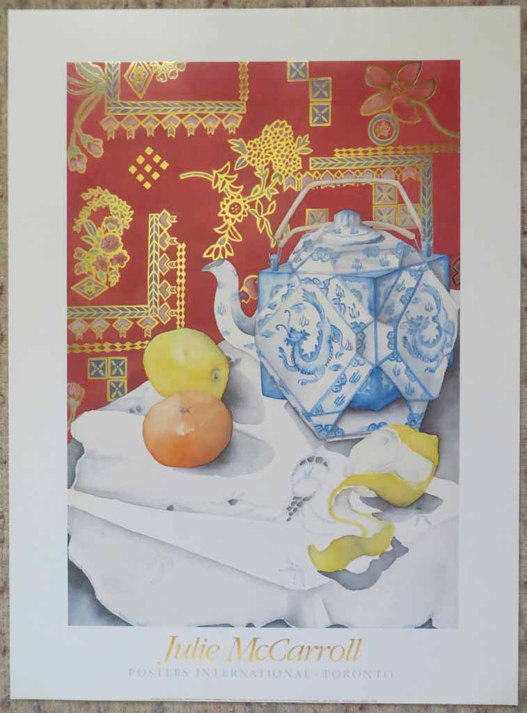 Morning Tea by Julie McCarroll, metal foil insets, published by Posters International, shown with full margins - offset lithograph reproduction vintage fine art poster print