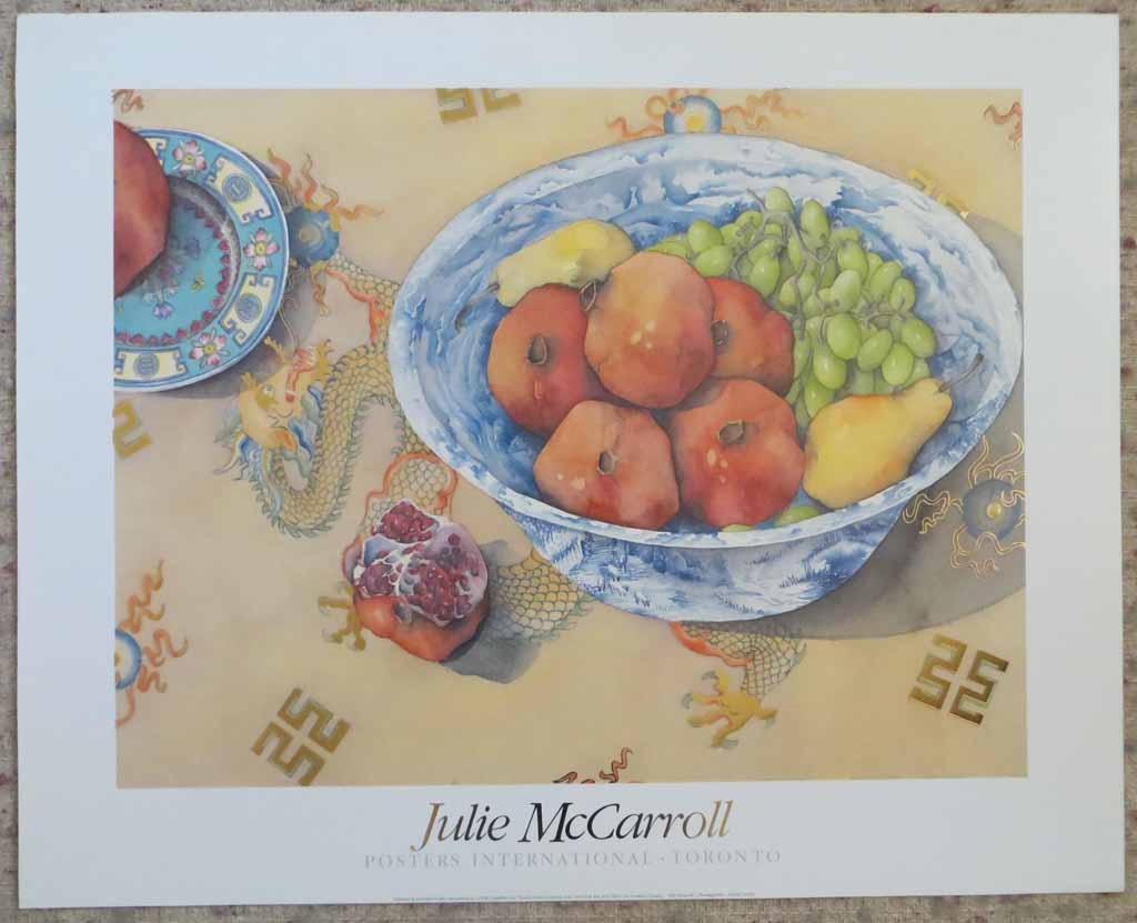 Pomegranate by Julie McCarroll, metal foil insets, published by Posters International, shown with full margins - offset lithograph reproduction vintage fine art poster print
