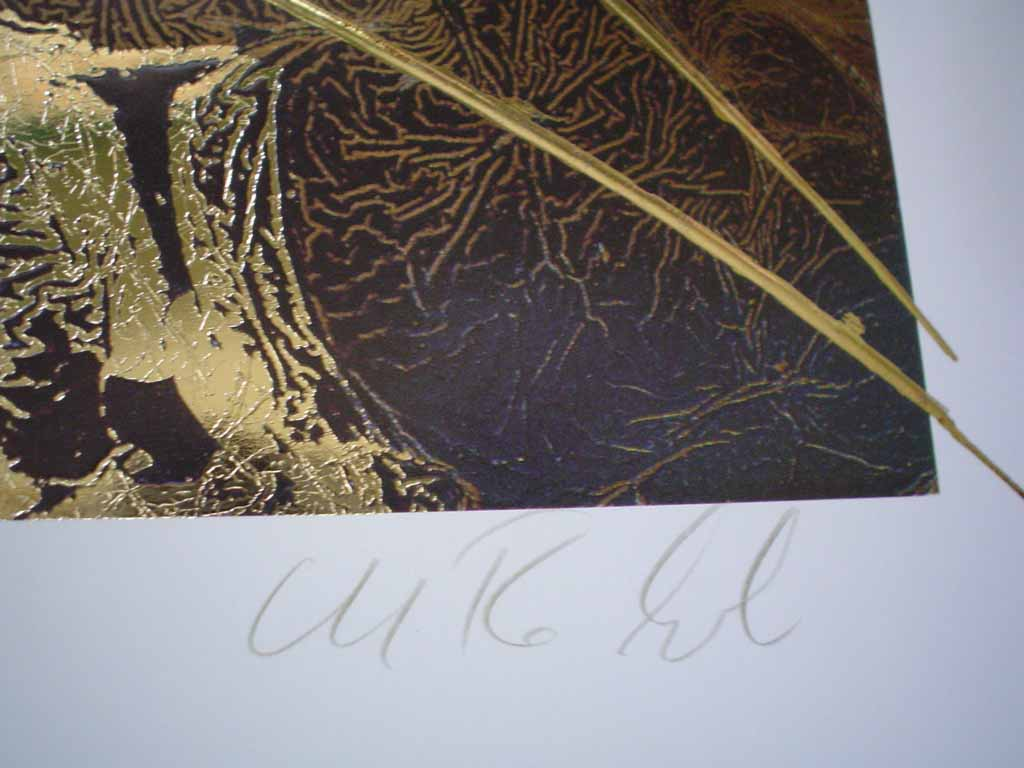 Dream IV: Dream 4 by Meridian Publishing, signed by unknown artist, detail of signature - offset lithograph reproduction with gold foil embossed insets vintage fine art print