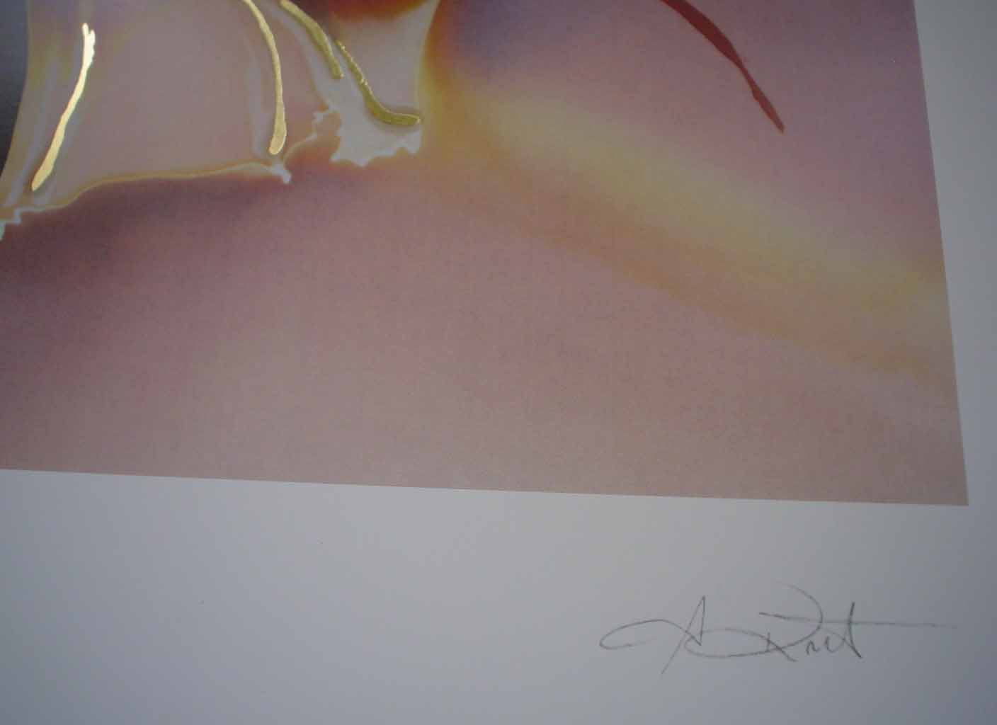 Souvenir D'Un Voyage II by Meridian Publishing, signed by unknown artist, detail to show signature - offset lithograph reproduction with gold foil embossed insets vintage fine art print