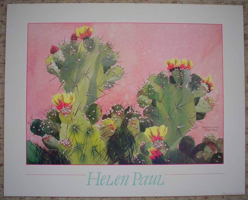 Pereskiopsis, Flowering Cactus by Helen Paul, shown with full margins - offset lithograph reproduction vintage poster art print