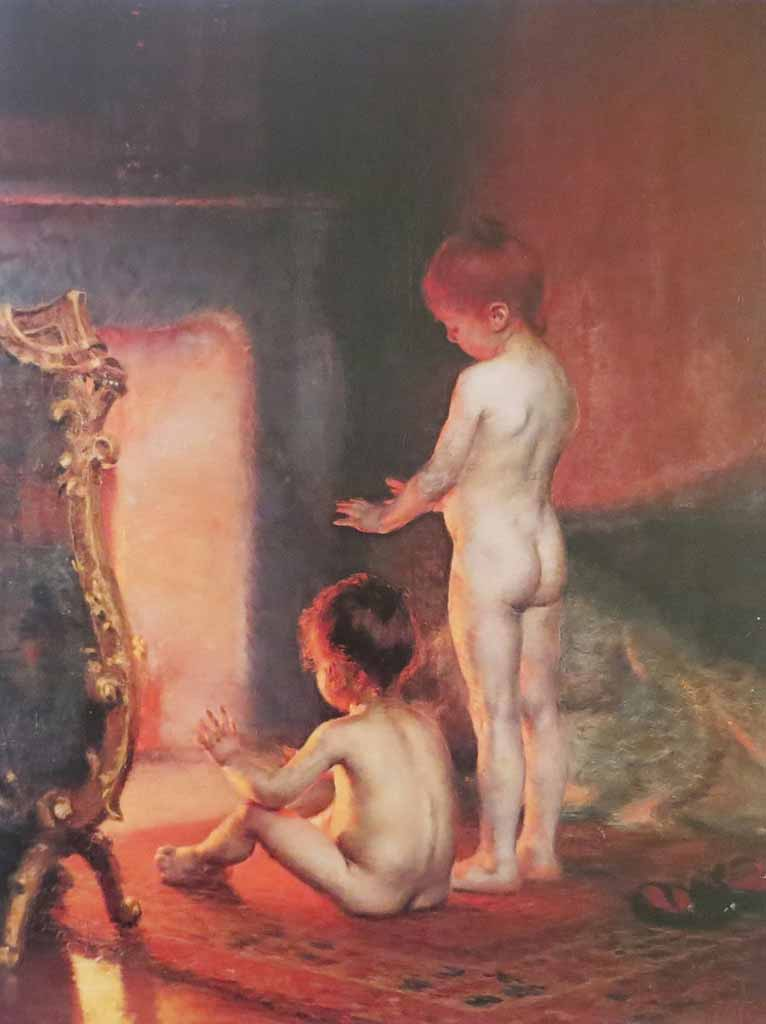 After The Bath by Paul Peel - offset lithograph reproduction vintage fine art print