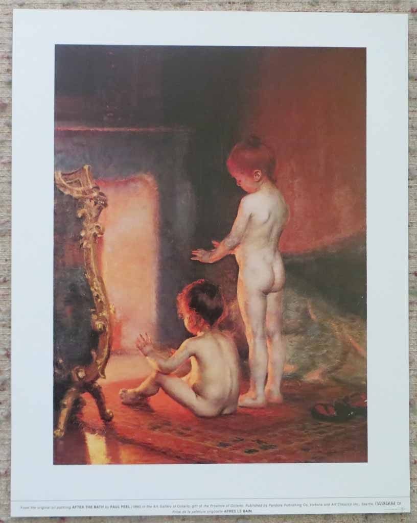 After The Bath by Paul Peel, shown with full margins - offset lithograph reproduction vintage fine art print