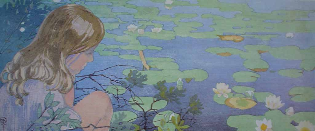 Lake Lilies by Walter Joseph (W.J.) Phillips - offset lithograph reproduction vintage fine art print