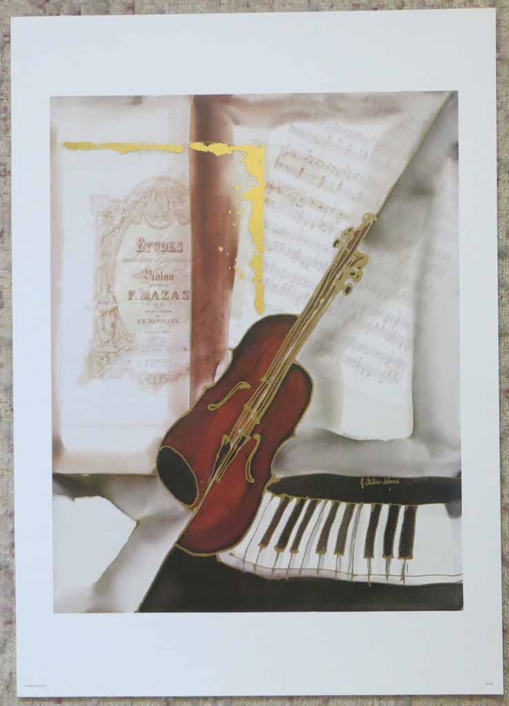 L'Etudes by Jutta Ritter-Scherer, published by Meridian Publishing, shown with full margins - offset lithograph reproduction with metallic and real gold foil insets vintage fine art print