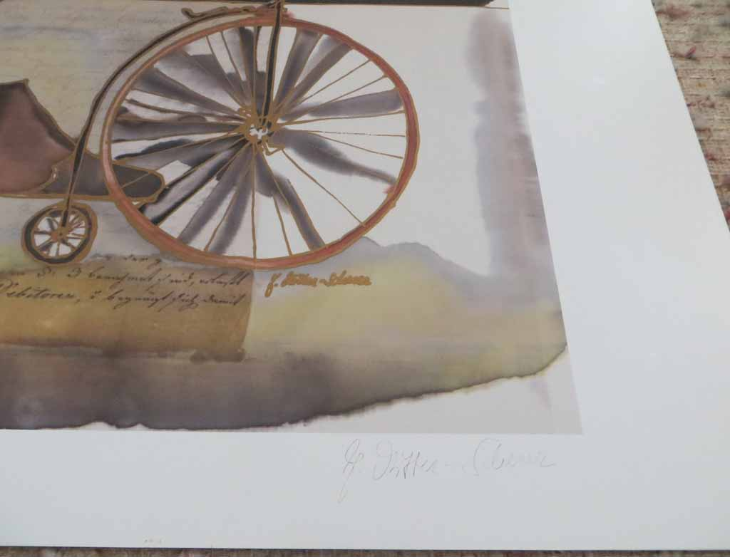 Bicyclette by Jutta Ritter-Scherer, signed by artist, published by Meridian Publishing, detail to show artist signature - offset lithograph reproduction with metallic and real gold foil insets vintage fine art print