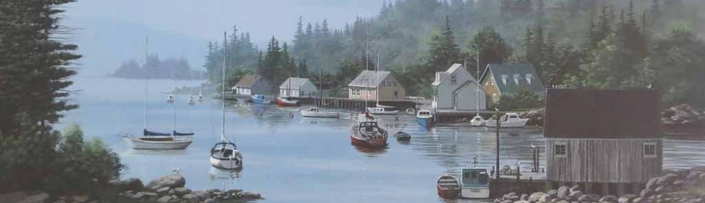 A Quiet Bay by Bill Saunders - hand-numbered 133/375 and signed by the artist - offset lithograph limited edition vintage fine art print