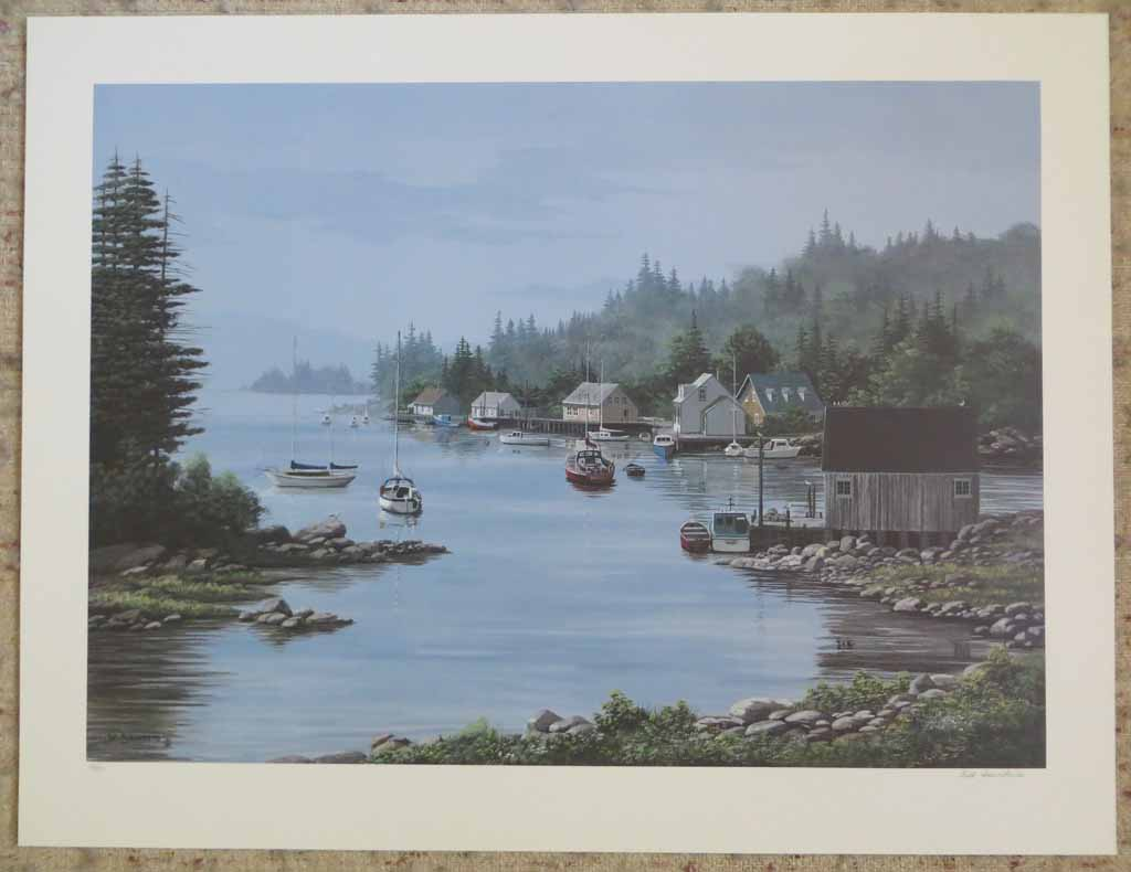 A Quiet Bay by Bill Saunders, shown with full margins - hand-numbered 133/375 and signed by the artist - offset lithograph limited edition vintage fine art print