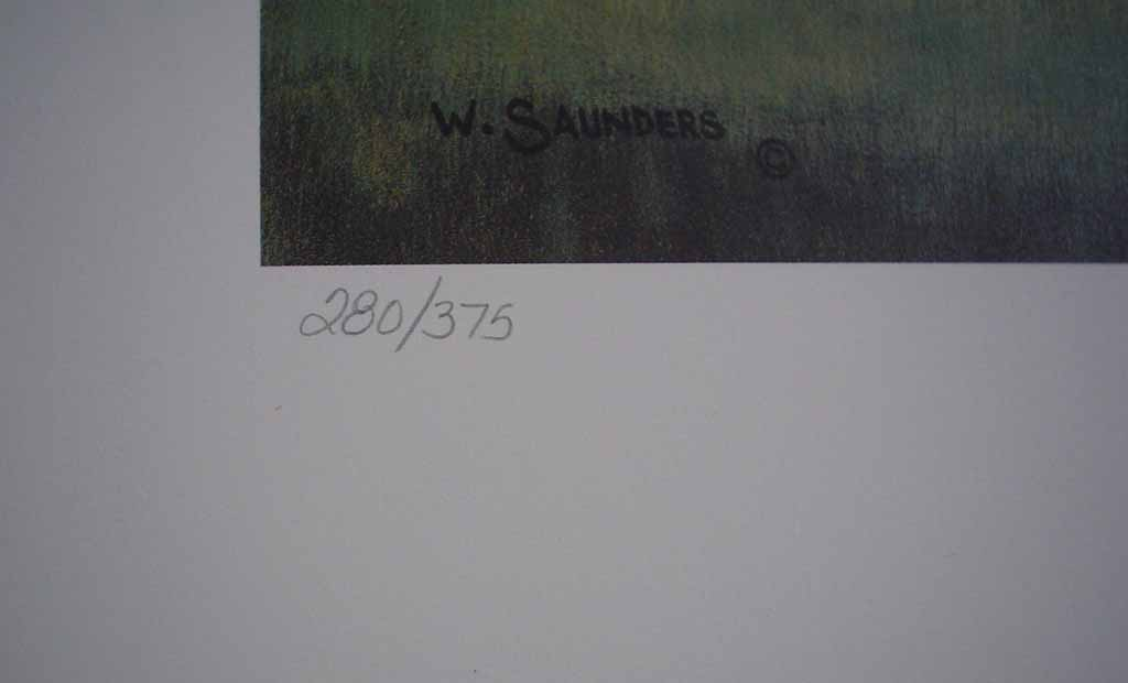 Countryside by Bill Saunders, detail to show edition number - hand-numbered 280/375 and signed by the artist - offset lithograph limited edition vintage fine art print