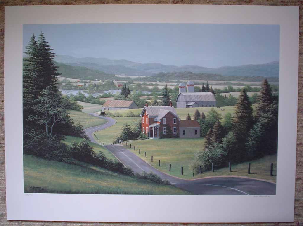 Countryside by Bill Saunders, shown with full margins - hand-numbered 280/375 and signed by the artist - offset lithograph limited edition vintage fine art print
