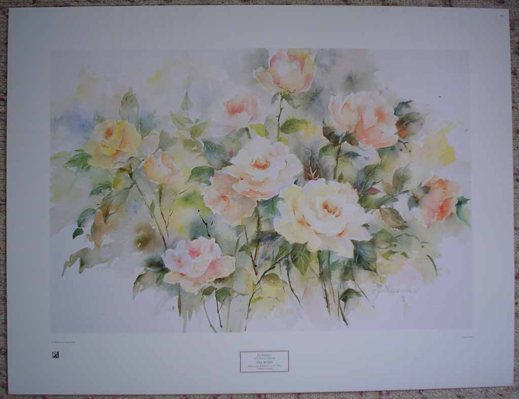 Tea Roses by P.J. Steadman, shown with full margins - offset lithograph reproduction vintage fine art print