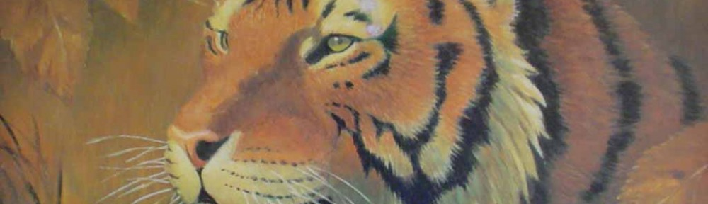 Portrait Of A Tiger by Rama Samaraweera - offset lithograph reproduction vintage fine art print