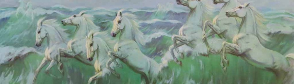 The Wild White Horses by Violet Skinner - offset lithograph reproduction vintage fine art print