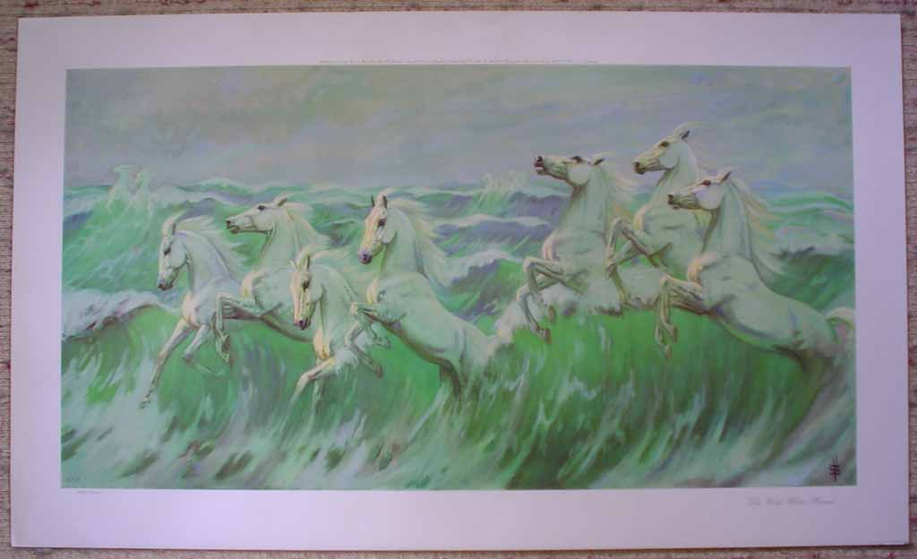 The Wild White Horses by Violet Skinner, shown with full margins - offset lithograph reproduction vintage fine art print