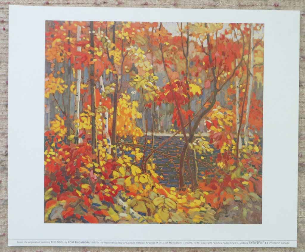 The Pool by Tom Thomson, shown with full margins - offset lithograph reproduction vintage fine art print