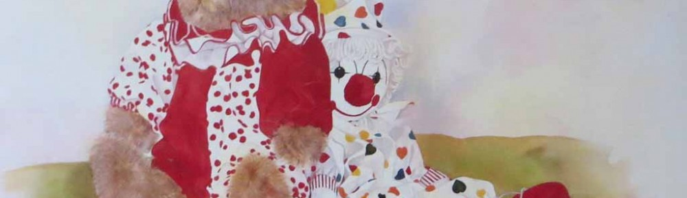 Amanda's Friends: A Couple Of Clowns by Wendy Tosoff - offset lithograph reproduction vintage fine art print