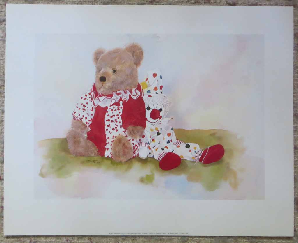 Amanda's Friends: A Couple Of Clowns by Wendy Tosoff, shown with full margins - offset lithograph reproduction vintage fine art print