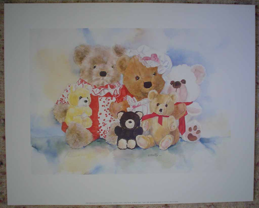 Amanda's Friends: Family Portrait by Wendy Tosoff, shown with full margins - offset lithograph reproduction vintage fine art print