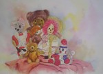 Amanda's Friends: Toy Party by Wendy Tosoff - offset lithograph reproduction vintage fine art print