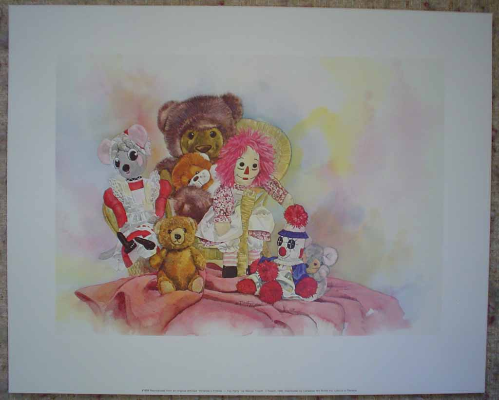 Amanda's Friends: Toy Party by Wendy Tosoff, shown with full margins - offset lithograph reproduction vintage fine art print