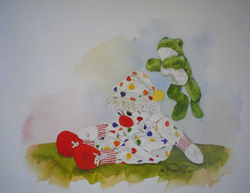 Amanda's Friends: Leap Frog by Wendy Tosoff - offset lithograph reproduction vintage fine art print