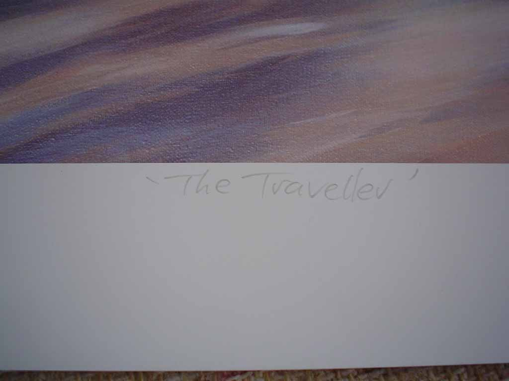 The Traveller by Paul Grignon, hand-numbered 449/500, titled and signed by the artist, detail to show title - limited edition offset lithograph vintage fine art print