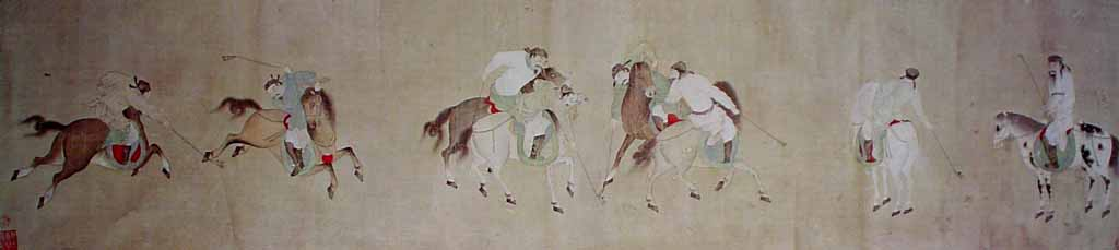 Polo Players by Li Ling - offset lithograph reproduction vintage fine art print
